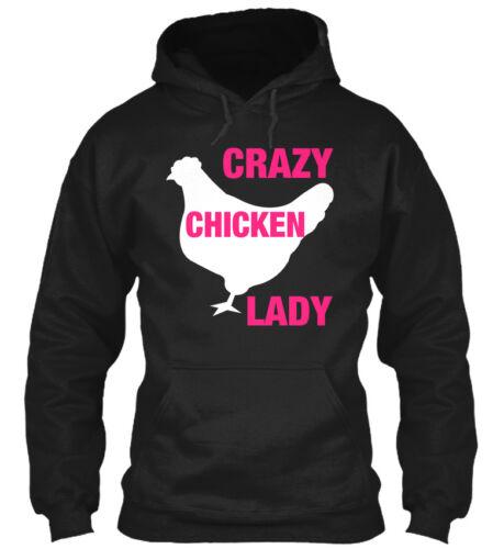 Lady Gildan Hoodie Sweatshirt Crazy Chicken Lady!
