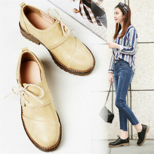 Fashion-Women-039-s-Solid-Round-Toe-Loafers-Lace-up-Low-Heel-Oxford-Casual-Shoes-NEW
