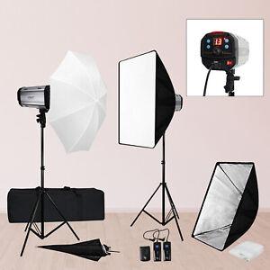 600W Photography Strobe Flash Monolight Studio Softbox Diffuser Lighting Kit