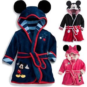 Mickey Minnie Bathrobe Kid Boy Girl Sleepwear Hooded Bath Robe Nightwear Pyjamas
