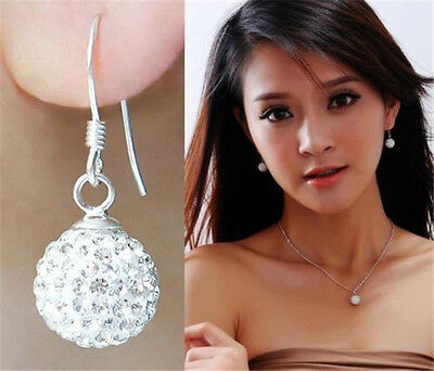 New Fashion Silver Women Soft Ceramic Crystal Stud Sexy Earrings Earring