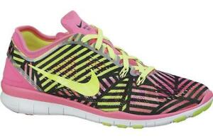 cheap for discount 3cdc6 21548 Details about Womens NIKE FREE 5.0 V5 TR FIT 5 PRINT Pink Pow Trainers  704695 600