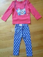 Girl Gymboree Camera Coral Shirt + Blue Flowers Leggings Pants Outfit Set 2t