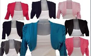 CHILDREN-GIRLS-KIDS-NEW-PLAIN-RUSHED-3-4-SLEEVE-BOLERO-SHRUG-CARDIGAN-TOP-1-13