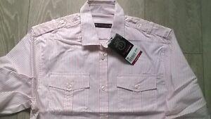 BURTON-Mens-pink-white-stripe-long-3-4-sleeve-smart-shirt-Size-S-M-L-XL-NEW