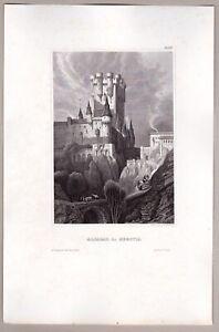 Segovia, Alcazar, Spain - Ansicht - Stich, Original Stahlstich 1848