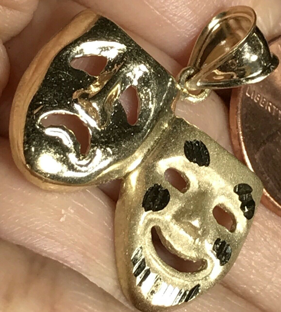 """gold 10k happy sad face theater comedy mask pendant yellow charm 1.15"""" 3.9g"""