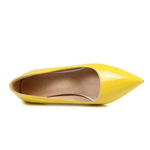 Plus sz Women Pumps Pointy Toe Mid Heel Dress Basic Shoes Patent Leather OL SIZE