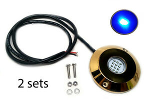 Pactrade-Marine-2SETS-Blue-Cree-LED-Underwater-SS316-Gold-Housing-Surface-Mount