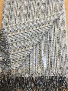 Beautiful-Blue-Beige-Charcoal-Stripe-Pure-WOOL-Fringed-Throw-Blanket-UK-WOVEN