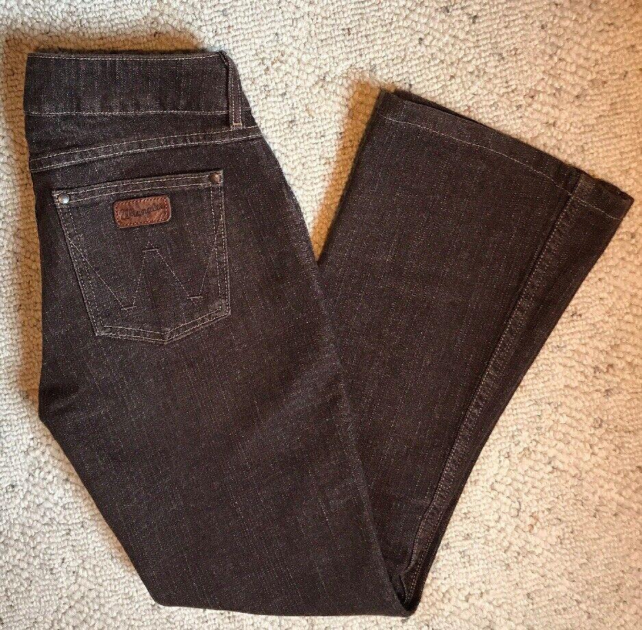 Wrangler Women's Brown Premium Patch Western Flare Boot Leg Pants Size 3 4 X 34