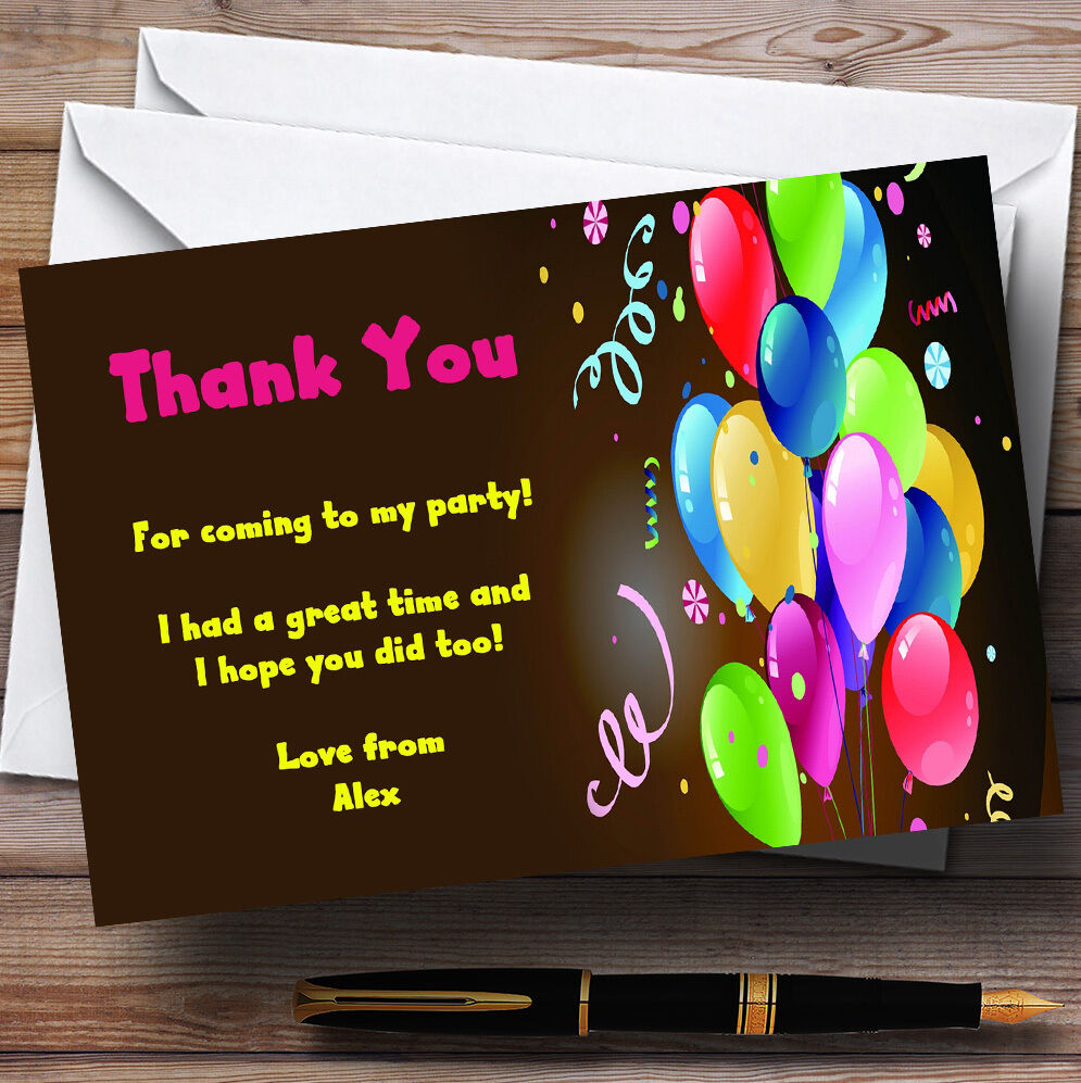 Party Thank You Cards Balloons Personalised Party Thank You Cards