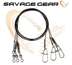 Savage-Gear-Noir-7-en-acier-enduit-Wire-Traces-leurre-Predateur-Peche-a-Pike