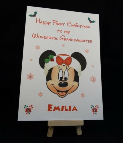 Personalised /& Handmade Minnie Mouse First Christmas Card Daughter,Grandaughter