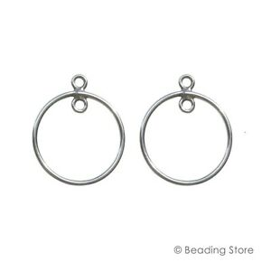 18acb758f Details about 2 or 20 925 Sterling Silver 14mm Round Earring Pendant  Chandelier Drops Findings