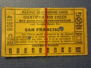 Old Vintage 1944 - Pacific Greyhound Lines - BUS TICKET