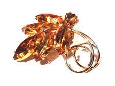 Broche alliage doré feuillage cristal citrine sur griffes brooch