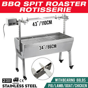Large-1067mm-Coals-Deluxe-Stainless-Steel-Spit-Roaster-Charcoal-BBQ-Grill