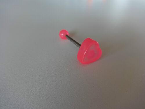 1 HERZ 10 x 5 mm Zungenpiercing ACRYLIC schwarz rosa blau orange lila Stab 316 L
