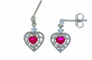 0-50-Ct-Ruby-amp-White-Sapphire-Heart-Dangle-Stud-Earrings-White-Gold-Silver