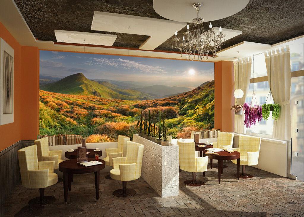 3D Hills Trees Weed Sun Wall Paper Wall Print Decal Wall AJ WALLPAPER CA