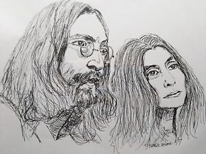 Portrait Of John Lennon And Yoko Ono Pen And Ink Drawing 14x11 Ebay