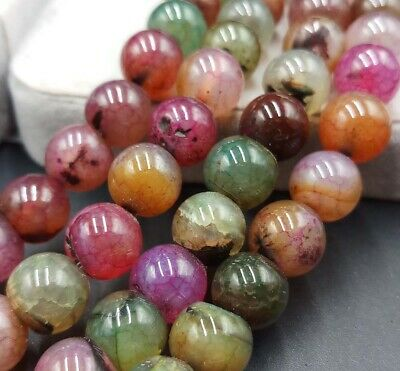 """5 color Dragon Veins Agate Round Loose Beads Gemstone Agate 15/"""""""