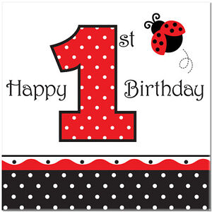 Image Is Loading Ladybug 1st Birthday Party Supplies Large Lunch Napkins