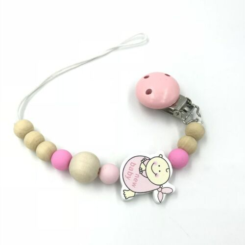 NEW 1X Wooden Baby pacifier Clip Food grade silicone beads Baby pacifier chain