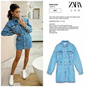 Details about ZARA NEW SS 20 WOMAN SHORT MINI DENIM SHIRT DRESS POCKETS BLUE XS-XXL 8197/081