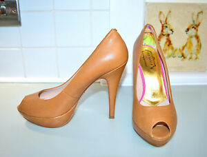 Ted-Baker-stiletto-high-heel-shoes-UK-6-EU-39-camel-brown-amp-gold