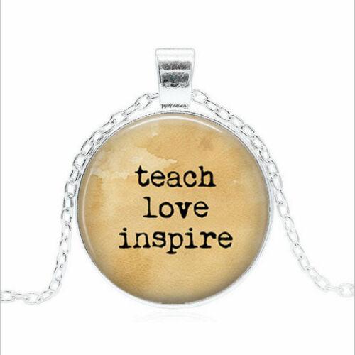 Enseigner l/'amour Inspire Tibet Argent Dôme En Verre Chaîne Collier Sautoir Pendentif Wholesale