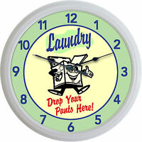 Laundry Room Washing Machine Wall Clock Drop Your Pants Here Retro Sign 10