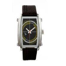 Henleys argd-FLY3 para hombre de acero inoxidable y marrón cuero genuino reloj