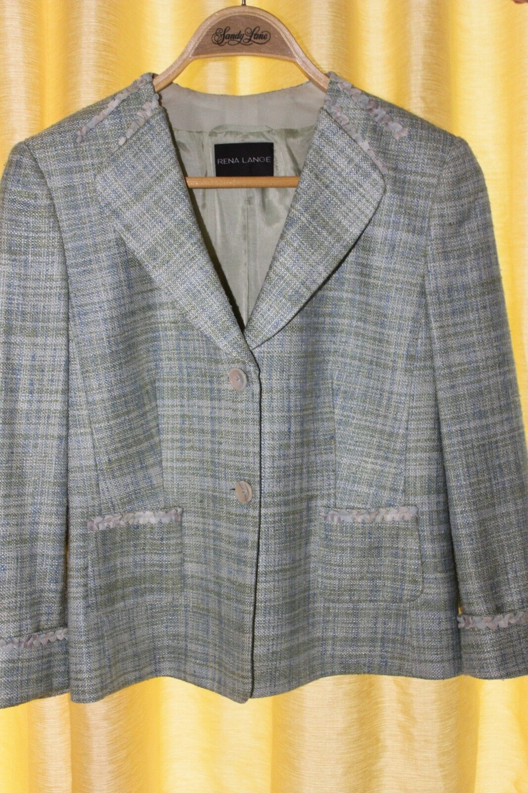 Rena Lange designer ladies blazer, tweed, excellent condition size 8 sleeve 3 4