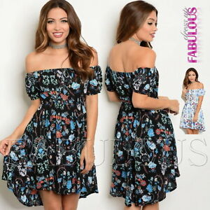 New-Floral-High-Low-Latina-Off-Bare-Cold-Shoulder-Dress-Size-6-8-10-12-XS-S-M-L