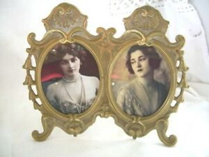 Vintage-Collectable-Beautiful-Double-Solid-Brass-Picture-Photo-Frame-7-5-039-039-Tall