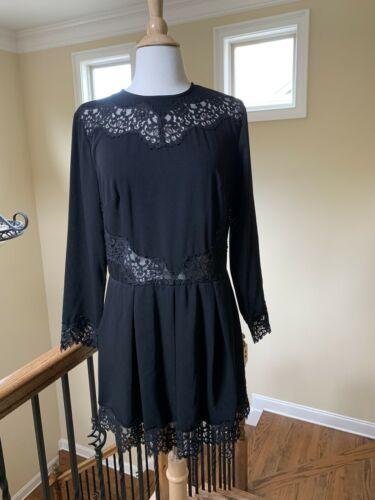 ZIMMERMAN BLACK DRESS LONG SLEEVES LACE SIZE 2