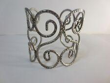 Lee Angel Antique Silver Swirl Wide Cuff Bracelet NIP $150