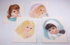 Chalk Pastel Drawings of Charming Young Girl Faces ~ 4 Prints, Artist Unknown