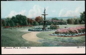 OMAHA-NE-Hauscom-Park-Fountain-Vtg-Nebraska-Postcard