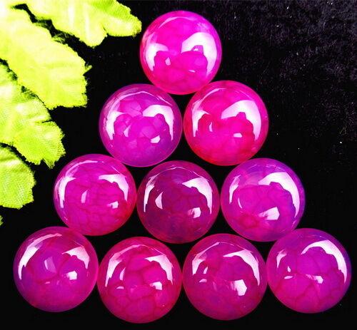 10Pcs Beautiful Rose Dragon Veins Agate Round Cab Cabochon 15*6mm HH580