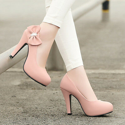 Sweet Womens Bow Tie High Heels Platform Pull On Court Party Pumps Shoes Plus SZ