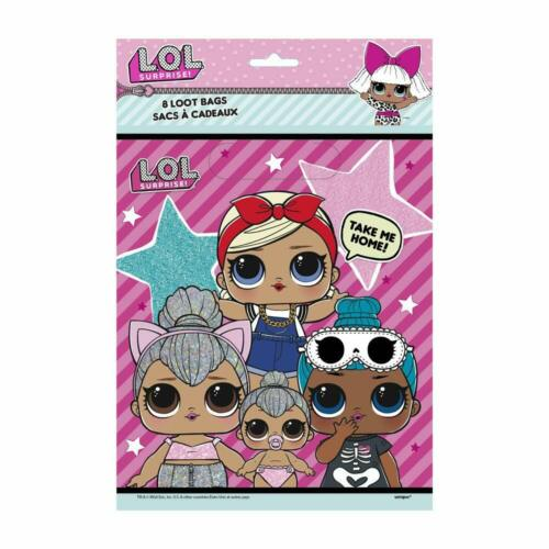 LOL Doll Surprise Birthday Party Plastic Loot Gift Bags Pack of 8 New Genuine