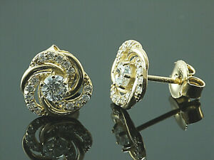 585-Gold-grosse-Ohrstecker-1-Paar-8-5-mm-Groesse-mit-Zirkonia