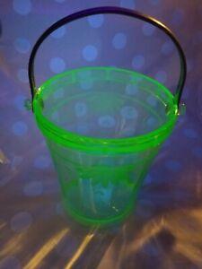 Green-uranium-Depression-cut-Glass-Ice-bucket-Marked-Patent-No-1694165-Vintage