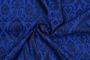 Hunter Green Paisley Jacquard Brocade Silk Fabric Craft Sewing By The Yard