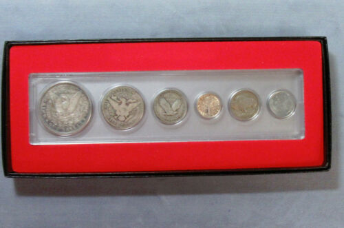 Merry Christmas 6pc Silver Vintage Coin Set Boxed Steel Cent to Morgan Dollar