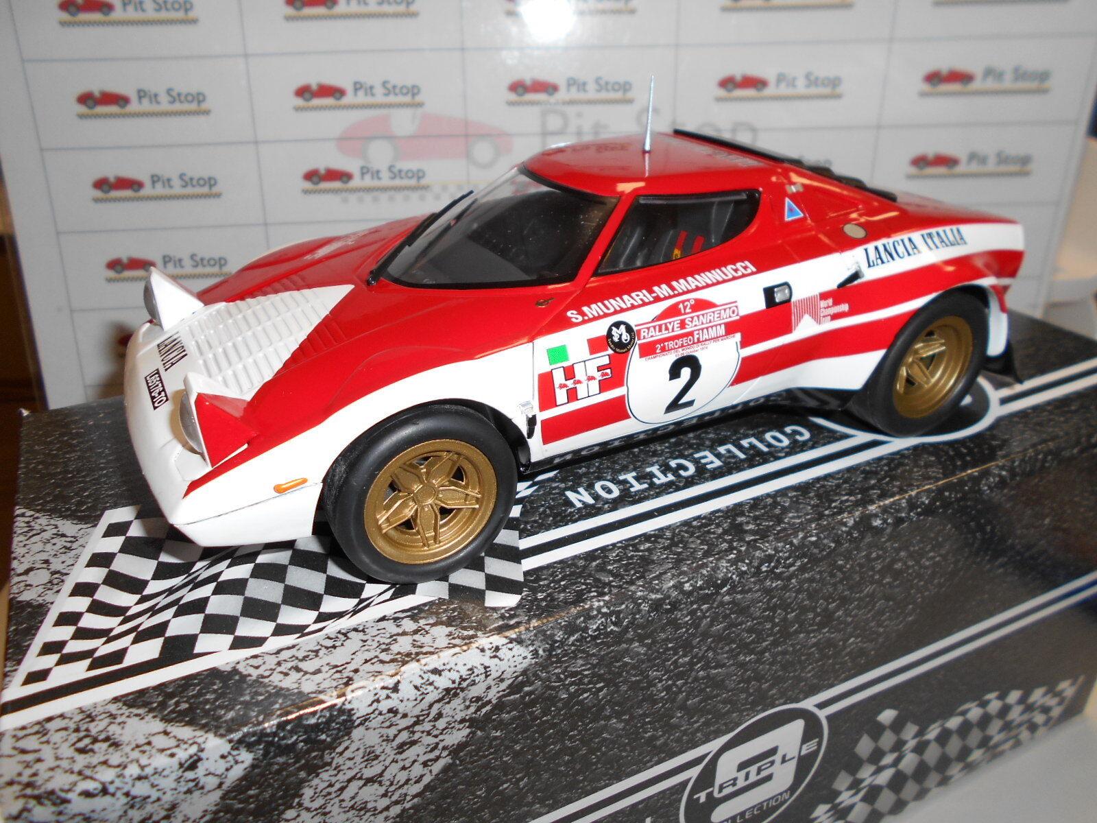 T91800175 by LANCIA STRATOS  2 MUNARI  hommeNUCCI WINNER RALLYE SANREMO 74 1 18  autorisation de vente de la marque