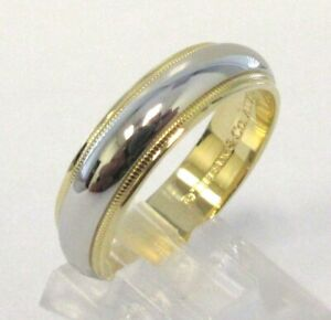 Tiffany Co Platinum 18k Gold 6mm Milgrain Wedding Band Ring 10 5